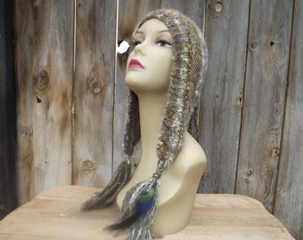 Handspun-Hand Knit-Pixie Hood with Tassels and Feathers-Alpaca and Angora-Browns, Green, Blue, Purple, Cream