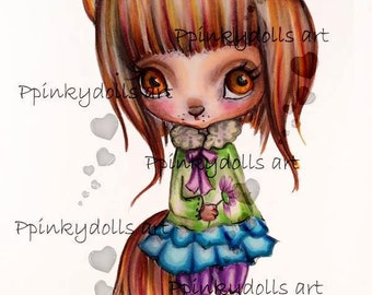 INSTANT DOWNLOAD Digital Digi Stamps,''Foxy''..painted with pencil and shadows effects ,for realistic painting, by Chrishanthi's art
