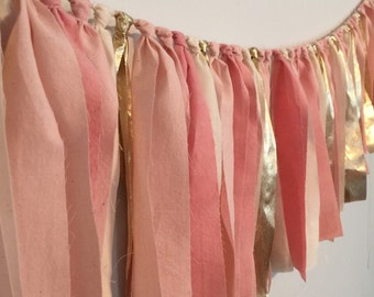 Pink Rag Garland. Photo Backdrop for Parties. Pink, Gold Wedding decor. Hand Dyed Fabric Garland. Wedding Photo Booth Prop. Blush Gold party
