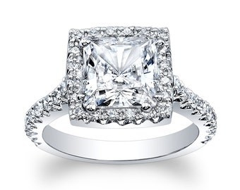 Ladies Platinum diamond engagement ring 0.66 ctw G-VS2 with 2ct natural White Sapphire Princess Cut center