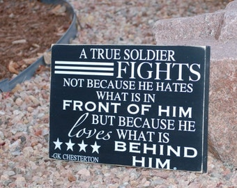 A True Soldier Wood Sign, Military