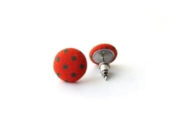 Orange Dot Earrings, Polka Dot Earrings, Green Dot Studs, Fabric Studs Posts, Rockabilly earrings, Orange Green Studs, Small Dot Earrings