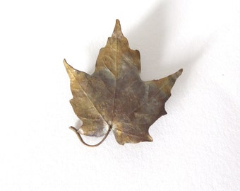 Cast Leaf Metal Brooch
