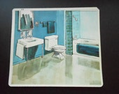Colorful Midcentury Bathroom Print 10 x 9 Peabody Language Kits Suitable to Frame Fun Art for Decorator's Office Vintage Retro Flash Cards