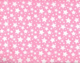 Starry NIght Flannel Fabric - pink with white stars - David Textiles Dreamland Flannel Basics - by the YARD