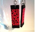 Pink Black Hanji Paper Earrings OOAK Patchwork Bubbles Boho Delicate Earrings Hypoallergenic hooks Dangle Earrings Lightweight