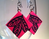 Hot Pink Leaf Hanji Paper Earrings Leaf Design Square Fuchsia Navy Dangle Earrings Hypoallergenic hooks Lightweight Ear rings