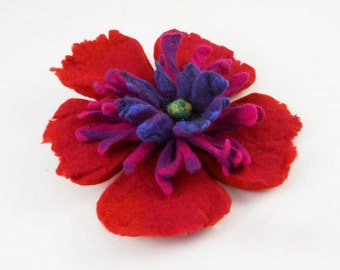Felted Brooch felt poppy nuno nunofelt silk flower folk boho red ruby wool victorian fairy