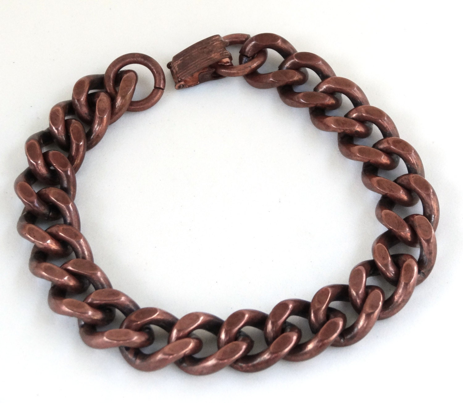 vintage mens bracelet chunky solid copper chain links heavy