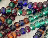 Picasso Rondelle Beads - Czech Glass Picasso Rondelle - 25 beads - 4x6 - Dark Mix Jewel Tones - 511