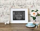 items similar to chalkboard art - kitchen chalkboard art - dining