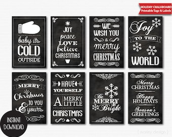 Printable Chalkboard Christmas Tags Instant Download Digital Typography Holiday Labels