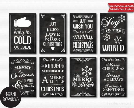 Printable Chalkboard Christmas Tags Instant Download Digital
