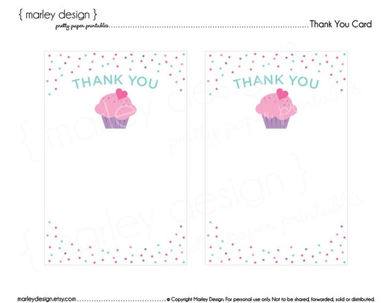 Cupcake Birthday Party Printable Thank You Card Thank You Notes