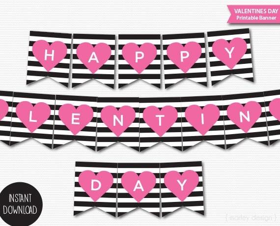 Happy Valentines Day Banner Printable Banner Valentines Happy Valentines Day Banner Printable