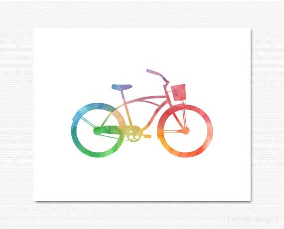 Bike Print Watercolor Bicycle Print Bicycle Wall Art Bike