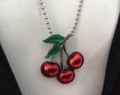 FRUIT 80s Enamel red Cherry green leaves pendant charm metal necklace silver tone chain OOAK statement signed