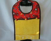 Baby Bib with Terry Cloth and Catch-all bottom in Curious George Theme