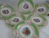 Set of 6 Antique Vintage Higgins & Seiter Austria Cabinet Plates - Mythological Scenes Ladies and Cherubs