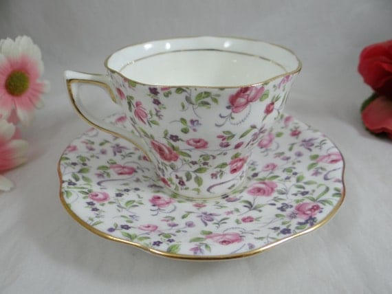 vintage des ann es 1950 rosina porcelaine anglaise teacup rose. Black Bedroom Furniture Sets. Home Design Ideas