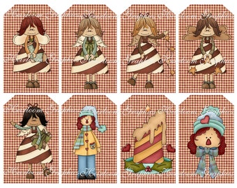 Christmas Download Vintage Country Download Set Of 8 Graphics