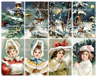 Christmas Download Vintage ChristmasChildren Postcard Digital Download