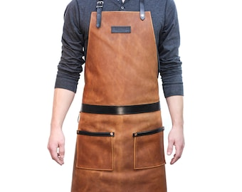 Rugged Apron- Leather - Cognac
