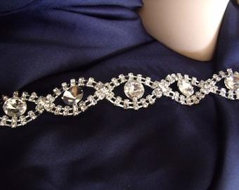 Crystal bridal headband or bridal belt bridal headband with ribbon ties silver and crystal long wedding dress sash belt