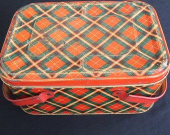 Vintage Metal Tin Red Green Plaid Picnic Basket Handles