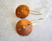 Hammered Raw Copper Disk Earrings with Brass Rivets and Eyelets, Modern, Minimal, Urban Chic