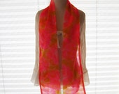 Bright orange pink floral abstract  nylon scarf, long thin scarf, 60s scarf