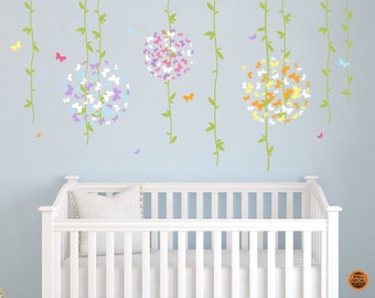 Butterfly Ball Flower Vines Wall Decal - Nursery Wall Decal