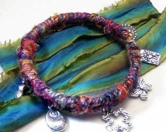 Boho Bangle Bracelet, Silk Wrap Bangle, Fabric Bangle, Bangle Bracelet, Bohemian Jewelry, Gypsy Jewelry
