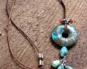 Turquoise Carnelian Beaded Leather Necklace Bohemian Jewelry