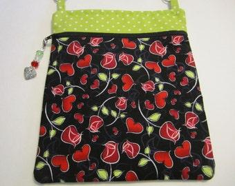 Red Roses and Hearts/Green Polka dot top