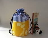 Draw string bag / small pouch / stripes yellow handprint and cord lace