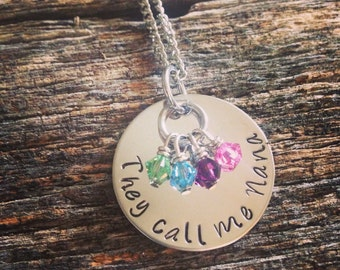 Hand Stamped Personalized Jewelry - Mother Necklace - Nana Necklace - They Call Me Nana