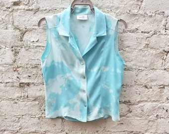 Pastel Tie Dye Tank Top Blue Blouse to fit UK size 10 or US size 6