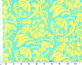 1 Yard, Blossom Flower Green Flowers on Blue Cotton