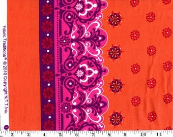 2 Yards, Fabric Traditions Orange Floral with Edge Design