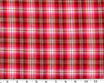 1 Yard, Red Plaid Cotton