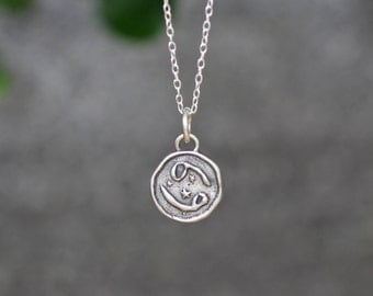 Cancer Astrology Zodiac Sign Pendant, Birthday gifts, Zodiac Jewelry,Sterling Silver Chain Included.