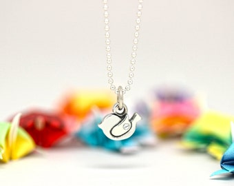 Little Bird charm, sterling silver, kid jewelry (Chain Sold Separately)