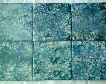Six hand made and hand decorated 4inch (10cm) square blue and turquoise sponged tiles