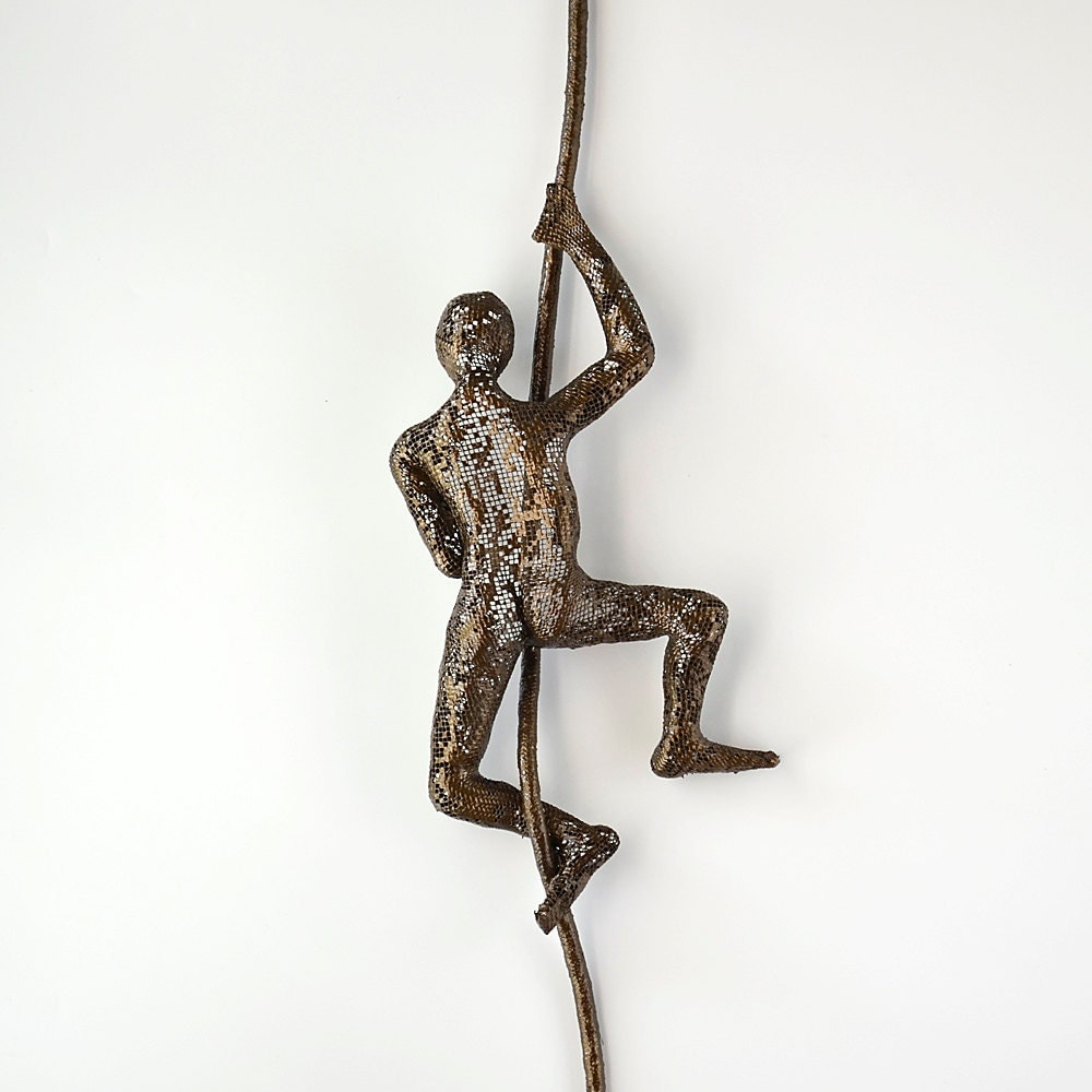 Wall Decor With Rope : Wall hanging climbing man on rope home decor metal