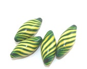 Marquise beads for Jewelry making, 4 polymer clay stripes beads in green and yellow, craft supplies