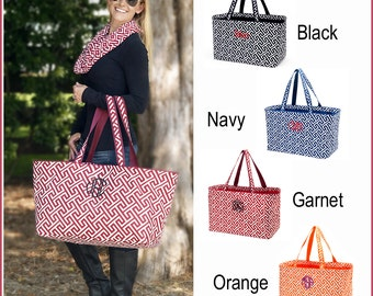 Greek Key Design Ultimate Tote Bags - Orange and Garnet Available - Extra Large Beach Bag Totes