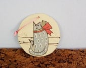 Christmas tree cat ornament, disk wall hanging or tree ornament of blue cat with red bow, stoneware, colorful cat ornament, small Xmas gift