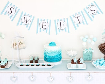 Sweets Banner, Blue White Dessert Table Banner, Dessert Table Banner, Sweet Table Banner P028