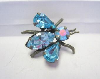 Vintage Blue Rhinestone Fly Pin